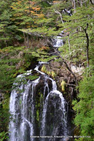 Vista a cascada desde el futuro mirador del sendero El Taique